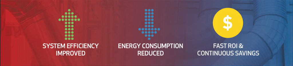 Banner that reads: System Efficiency Improved, Energy Consumption Reduced, Fast ROI and Continuous Savings